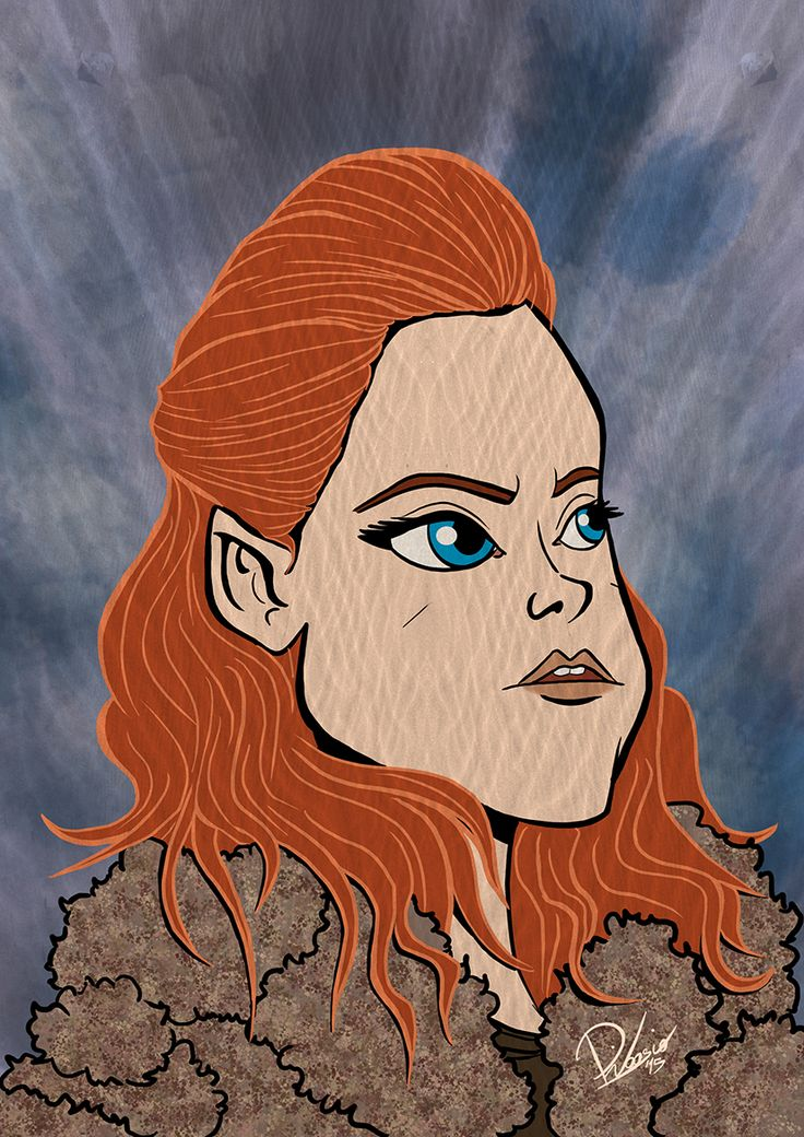 Rose Leslie as Ygritte in #gameofthrones - caricature by Ribosio