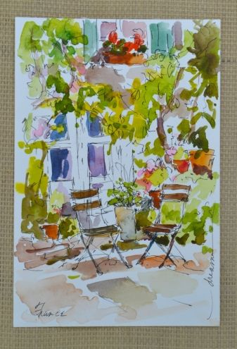 Postcards from France- No.6 and No.7, painting by artist Dreama Tolle Perry