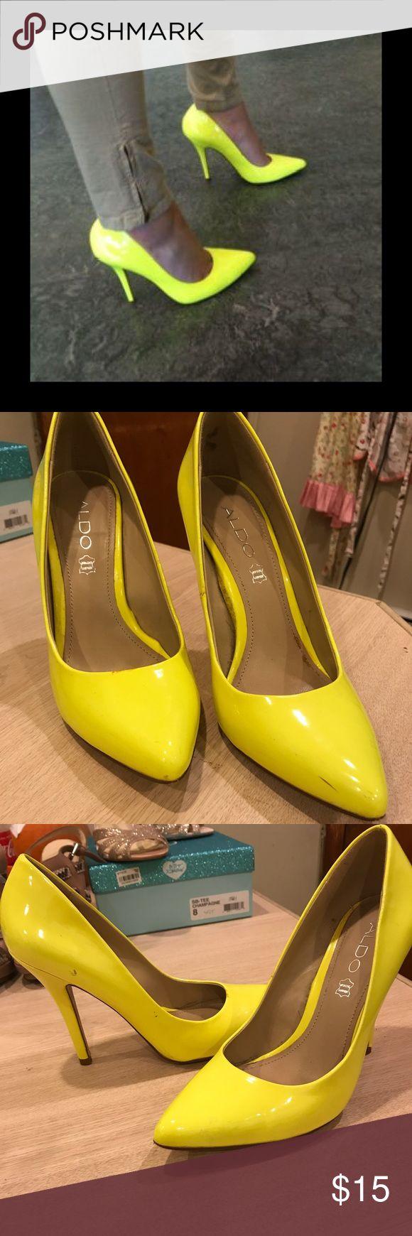 aldo, neon yellow shoes aldo size 38, never worn but some marks Aldo Shoes Heels