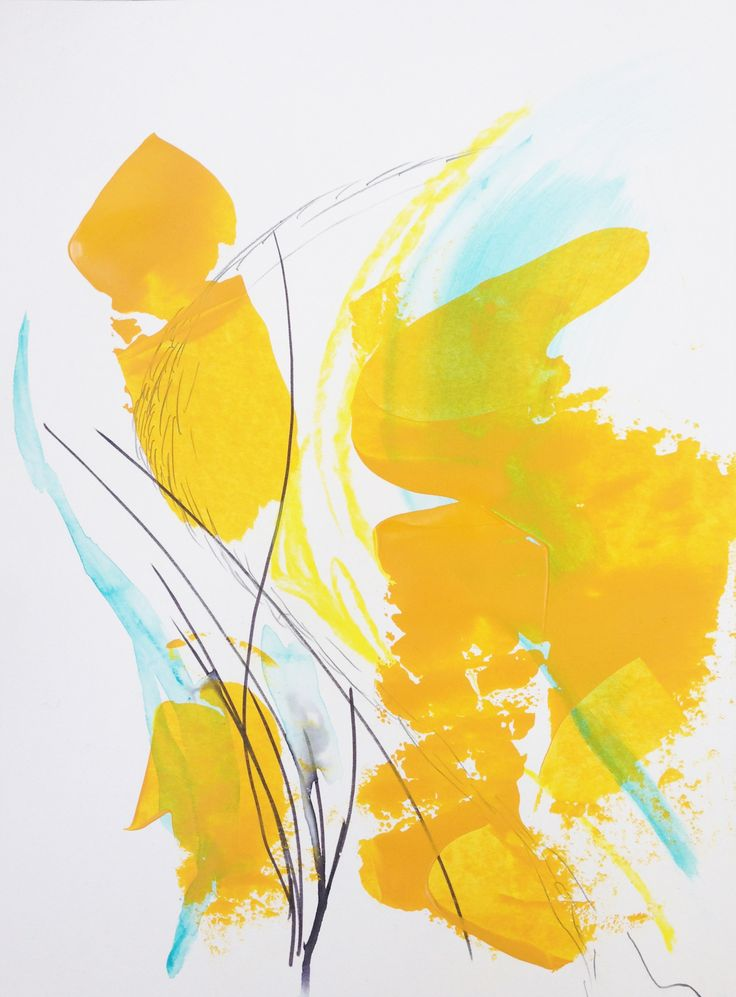 acrylics on paper // abstract art // abstract expressionism // yellow art // maritaspeenart