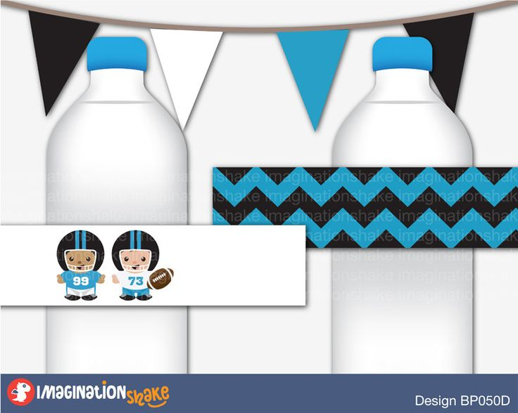 Super Bowl Carolina Panthers Bottle Wrappers Jar Labels PRINTABLE / Football Birthday Party / Black and Blue Sports / Party Printable Bottle - pinned by pin4etsy.com