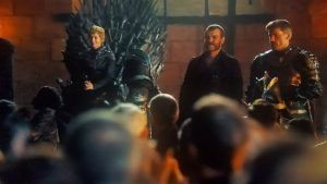 Cersei, Jamie, and Euron at court in King's Landing  Game of Thrones  Queen's Justice