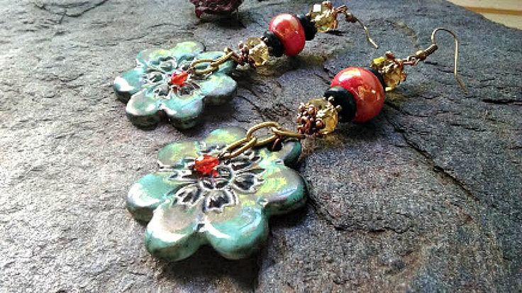 Boucles d'oreilles Bohémien Tribal Ethnique, Bijoux artisanal, Boucles d'oreille pour elle, Bijoux cuivre céramique, by itssomimi2 on Etsy