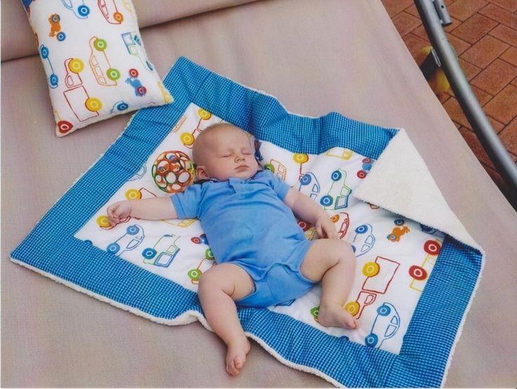 Babydecken - Babydecke , Krabbeldecke  Öko Teddy-Auto - ein Designerstück von gerber-a bei DaWanda