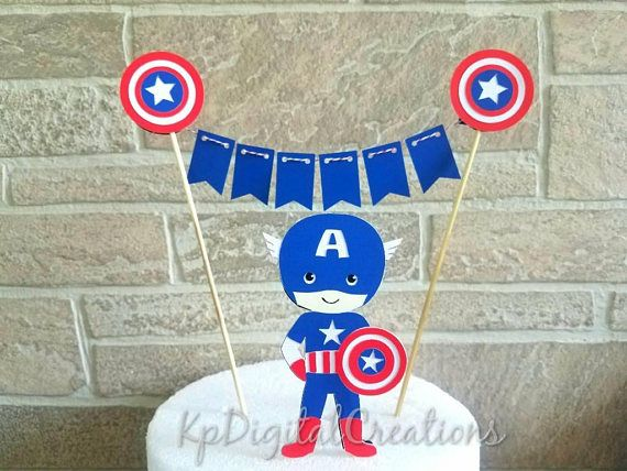 Captain America cake topper, captain America birthday party, Avengers birthday party ideas, captain America birthday decor Check out this item in my Etsy shop https://www.etsy.com/listing/532147166/captain-america-cake-topper-avengers