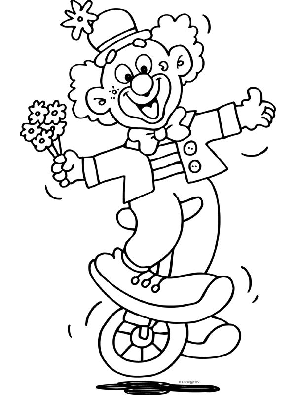 clown party circus coloring pages - photo#8