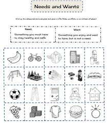 Image result for social studies needs and wants worksheet