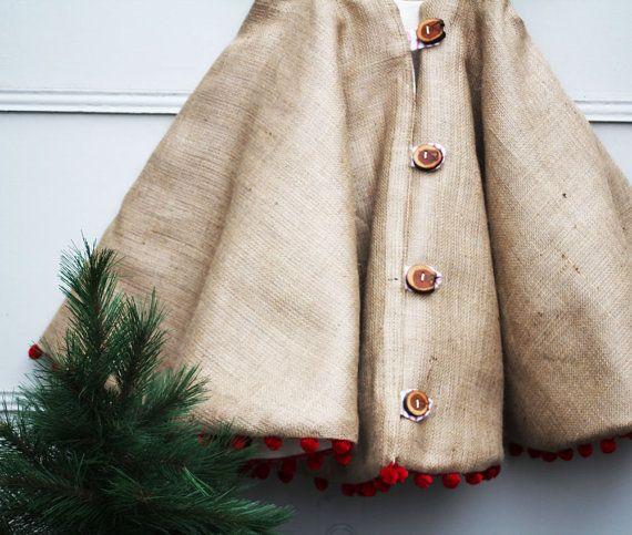 Christmas Tree Skirt Rustic Burlap with Wood by LittleOrangeRoom, $140.00