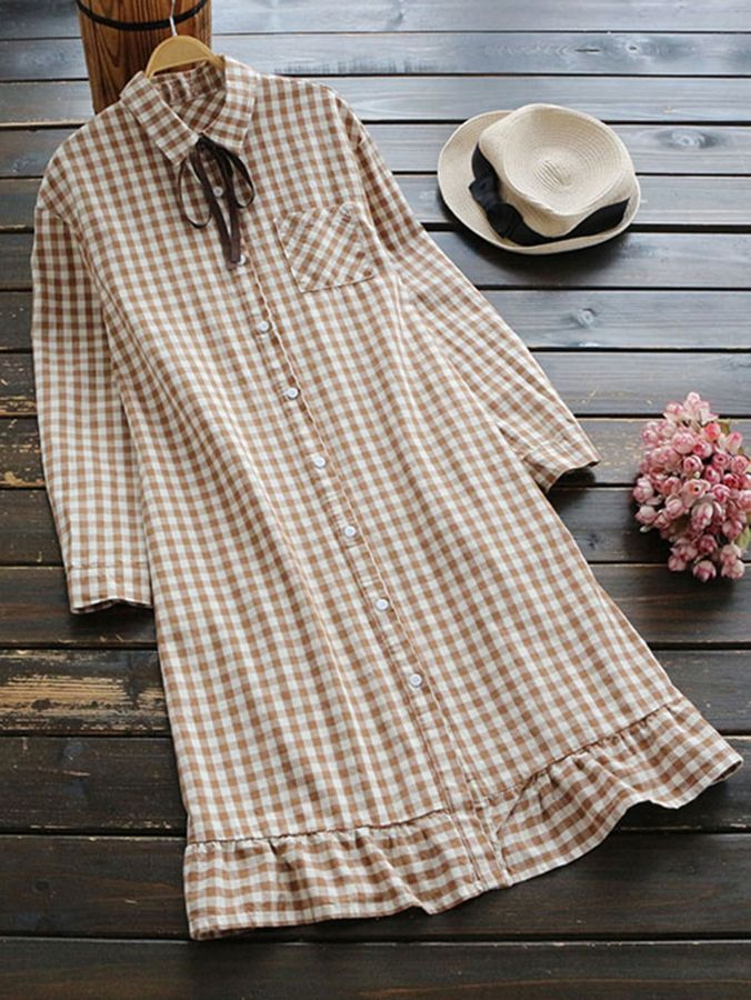 Shein Gingham Lace Up Frill Trim Shirt Dress