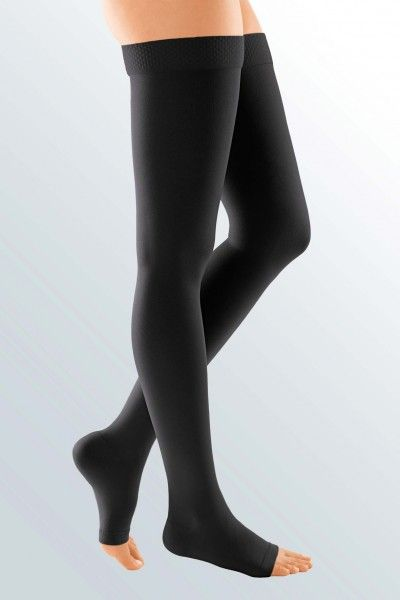 DUOMED® soft thigh length compression stockings - in 2 colours! 5 sizes and 2 styles, plus open or closed toe option. Silicone top band as standard!