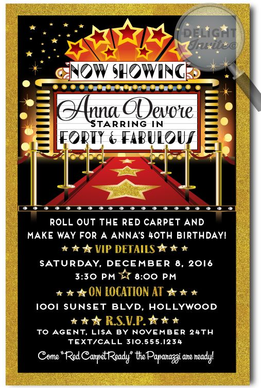 Movie Star Hollywood Red Carpet 40th Birthday Invitations, expertly printed on gorgeous metallic paper and artfully hand-mounted on beautiful metallic shimmer gold 120# card stock, these Hollywood Movie Star 40 & Fabulous invites are truly stunning in person!
