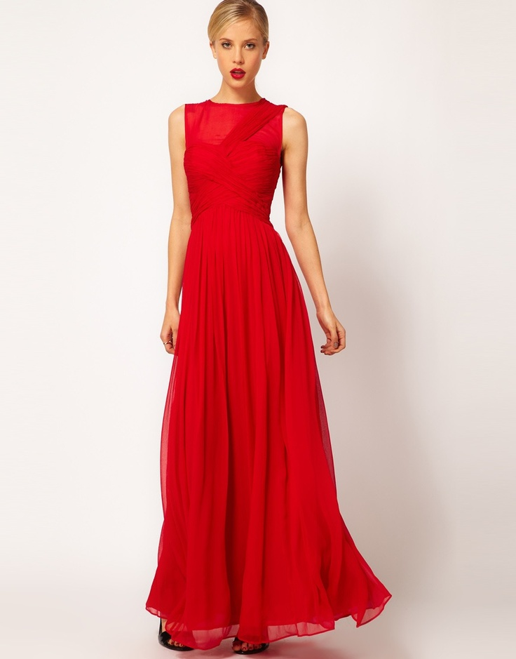 Mango pleated maxi dress raspberry red color