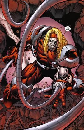 Omega Red is a fictional supervillain appearing in American comic books published by Marvel Comics, most commonly in association with the X-Men. In 2009, Omega Red was ranked as IGN's 95th Greatest Comic Book Villain of All Time. Omega Red first appeared in X-Men #4 (vol. 2, January 1992), and was created by Jim Lee and John Byrne.