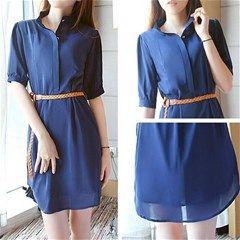 Chiffon Mid-Sleeve Dress - Navy
