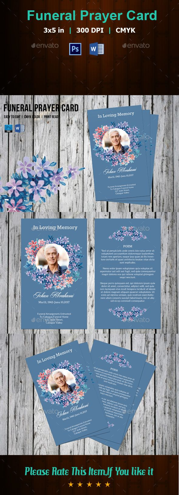 Funeral Prayer Card Template-V174 - Church Flyers