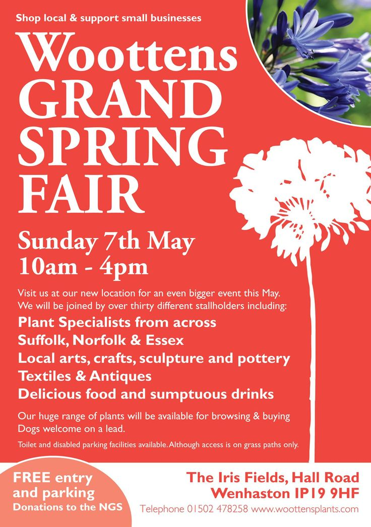 "Date For Your Diary: Sunday 7 May. Woottens Grand Spring Fair​ 10am - 4pm. The Iris Fields, Wenhaston. I'll be there selling lots of lovely ""Just All Good Things"" products :D xxx"