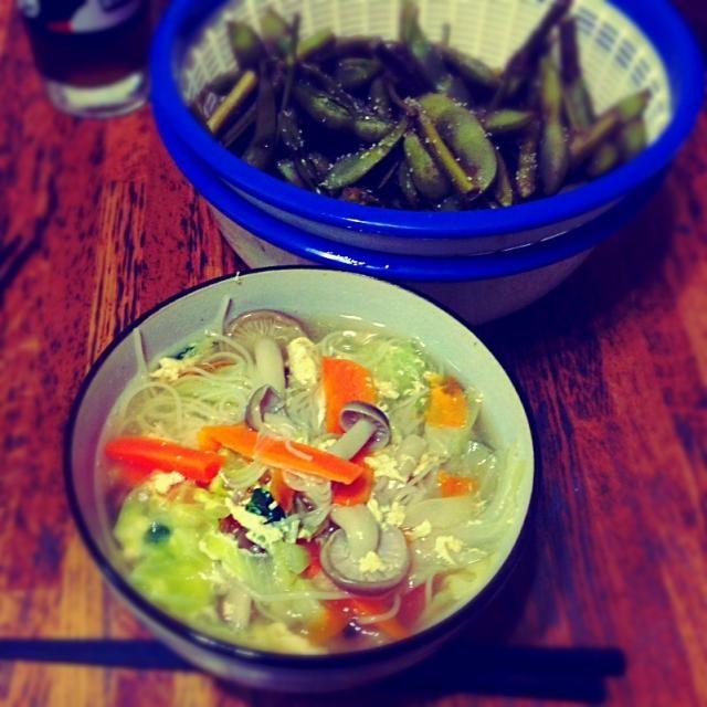 ☆野菜いっぱいにゅうめん ☆茶豆 - 26件のもぐもぐ - 遅い夕食 by rapin1216