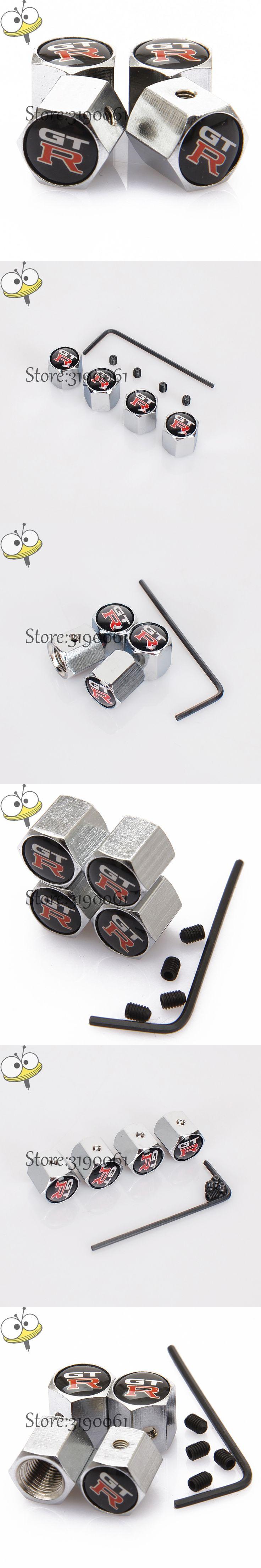 Car Styling Wheel Tire Valve Stem Caps Rim Sticker For GTR Logo For Nissan Tiida Teana Maxima Xterra Frontier Juke Note 350-z