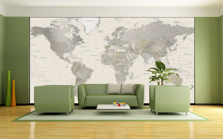 Neutral Tones World Map Mural