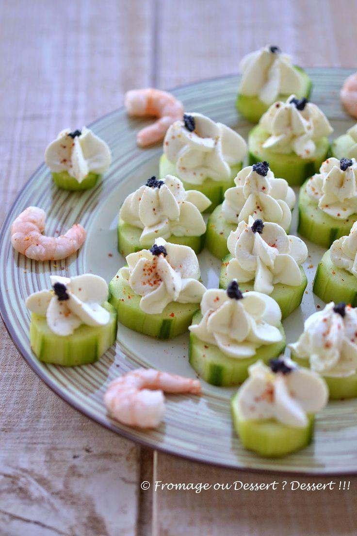 Fromage ou Dessert ? Dessert !!!: Canapés de concombre à la mousse de chèvre frais e...
