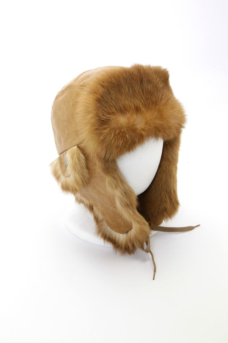 Chapeau aviateur lapin caramel / Caramel rabbit fur aviator hat