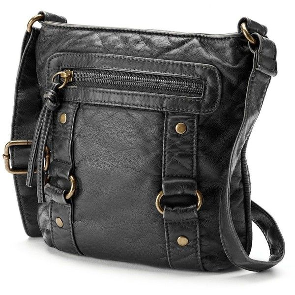 Mudd Missy Crossbody Bag (Black) ($18) ❤ liked on Polyvore featuring bags, handbags, shoulder bags, black, vegan handbags, mudd purse, zipper purse, black shoulder bag and faux leather handbags
