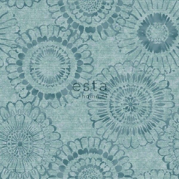 chalk printed eco texture non woven wall covering floral aqua green
