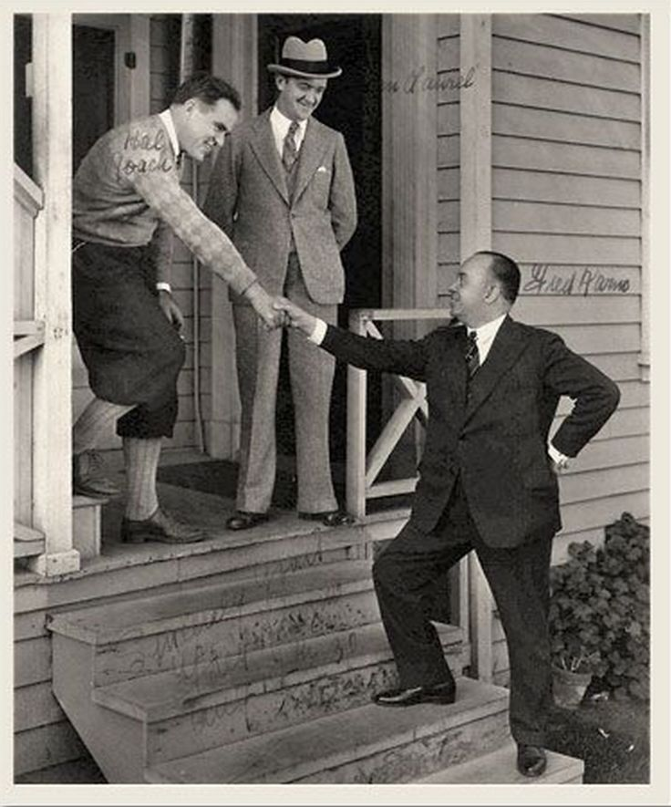 Hal Roach, Stan Laurel and Fred Karno.