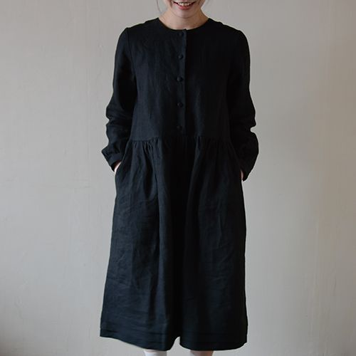 [Envelope Online Shop] Black gather one-piece the linen bird HABERDASHERY Detachable collar kit