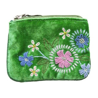 This gorgeous coin purse is made of luxurious velvet, it features our arts-and-crafts inspired hand embroidered Folk Flowers design. This little boho beauty will easily fit your lipstick, cards, coins and as it has a zipped close, to keep your precious items perfectly safe, yet stylishly kept.