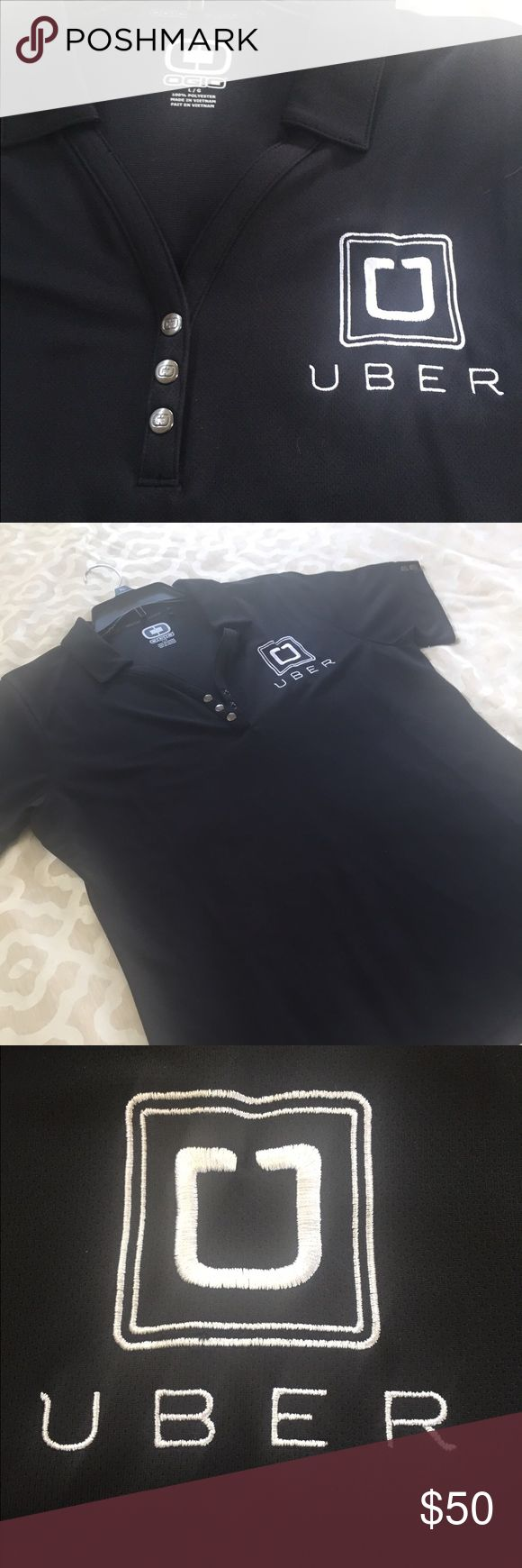 Custom Uber ladies polo shirt- Size large Super comfortable Ogio embroidered polo shirt. Moisture wicking material, not cotton. I had it custom made when I was driving for Uber. One of a kind. Supremes quality. My cost was $90!! Look professional while driving in this comfortable, trendy shirt. 👩🏻✈️🚖 OGIO Tops Button Down Shirts
