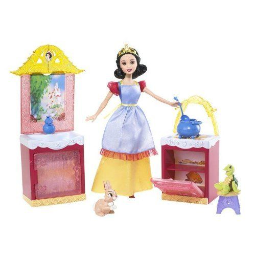Disney Princess Snow White Kitchen Playset by Mattel. $18.99. Cook up some fun for the Dwarfs!. Snow White's Kitchen Playset. With two forest friends a bunny and a turtle. Snow White doll is right at home in her kitchen. Country furnishings including a sideboard with sink, stove, kettle and stool. From the Manufacturer                Disney Princess SNOW WHITE AND THE SEVEN DWARFS Snow White's Kitchen Playset Snow White doll is right at home in her kitchen with two f...