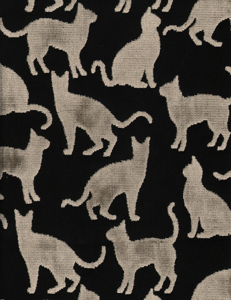 Renoir/Taupe-Black, our cut velvet featuring kitty cats, offered in 2 colorways, sold by the yard.