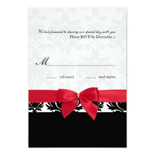 Damask Wedding Reply Cards In Black And Red