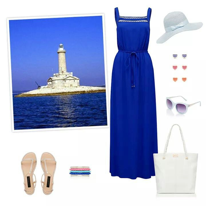 #Blue #Sandals #Shades #Earrings #Handbag #Bangles #Sunhat