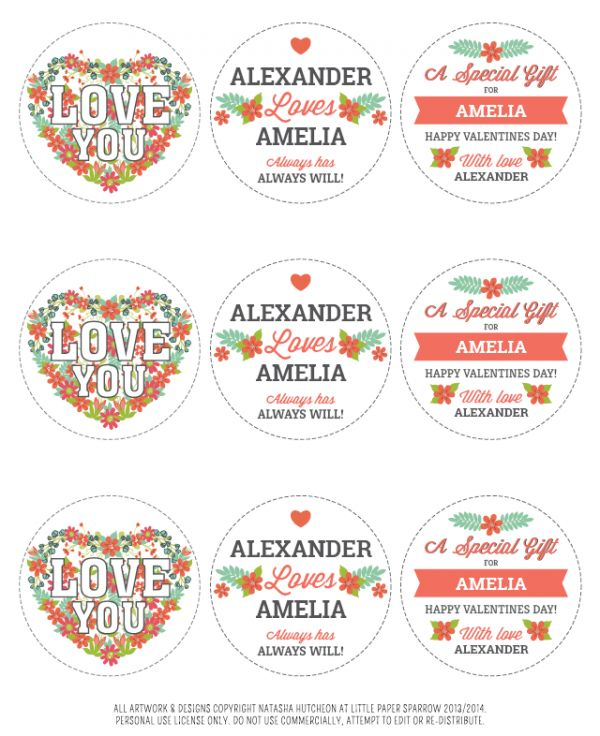 Free Round editable Valentines Day Printables.