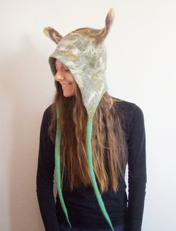 Burning Man Clothing Slug Hat - Felted Wool Animal Hat