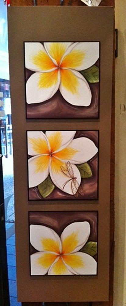 Tropical FRANGIPANI 122cm Vertical Design Stretch Canvas Wall Decor Lisa Pollock
