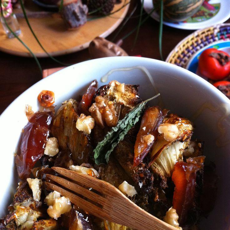 Menu à trois: Salada de erva doce assada com zaatar [com tâmaras, nozes e mel de laranjeira]