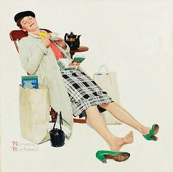 HOW TO REVIVE A TIRED SHOPPER..By: Norman Rockwell… Detail from 1958 Red Rose tea ad.