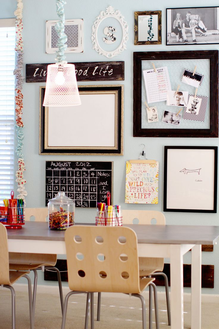"""LOVE LOVE THIS Beautiful classroom photo wall - giving it a touch if home...thinking about something like this for my new classroom. I want to take a group/""""Family"""" photo of each class period to hang up."""