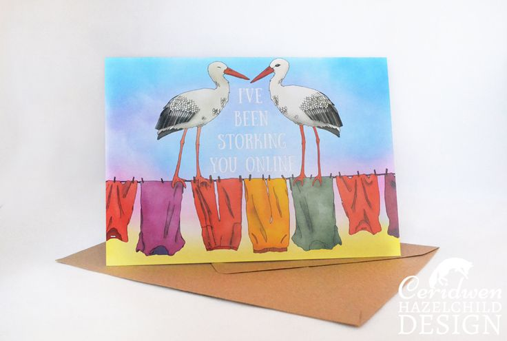 #Storking You Online Greeting Card Blank Card Anniversary Card New Birth Card Valentines Card Pun Card Ceridwen Hazelchild Design