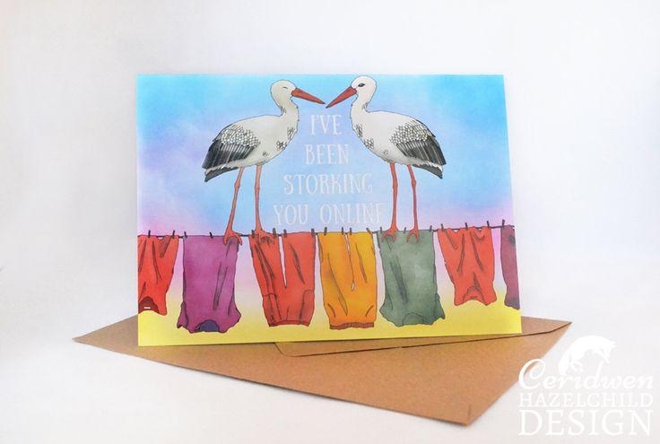 #Storking You Online Greeting Card Blank Card Anniversary Card New Birth Card Valentines Card Pun Card Ceridwen Hazelchild Design