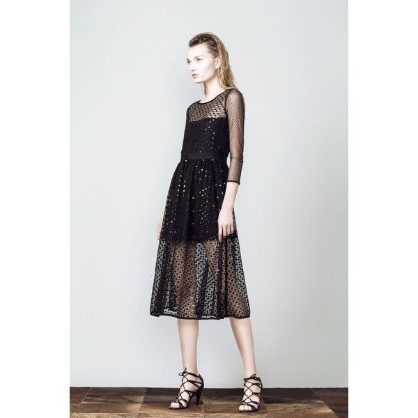 Black Diamond Midi Dress via Polyvore featuring dresses, sheer dress, see through dress, textured dress, sheer midi dress and transparent dress