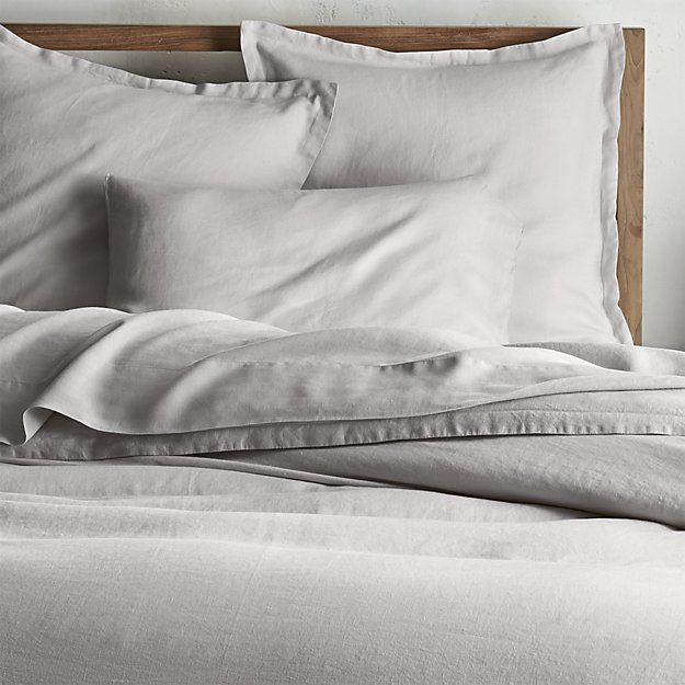 THE COMFORTER for our master bedroom... totes the one! Lino II Light Grey Linen Duvet Covers and Pillow Shams | Crate and Barrel