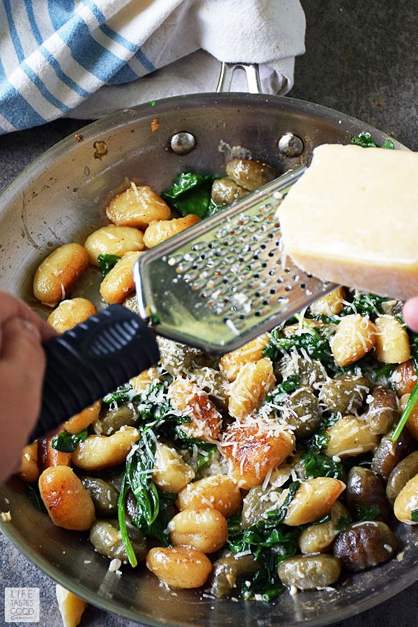 Pan Fried Gnocchi with Spinach and Parmesan is an easy recipe using fresh ingredients to maximize flavor. It makes an impressive meatless meal that whips up in just 20 minutes, or pair with your favorite protein for a hearty side dish.