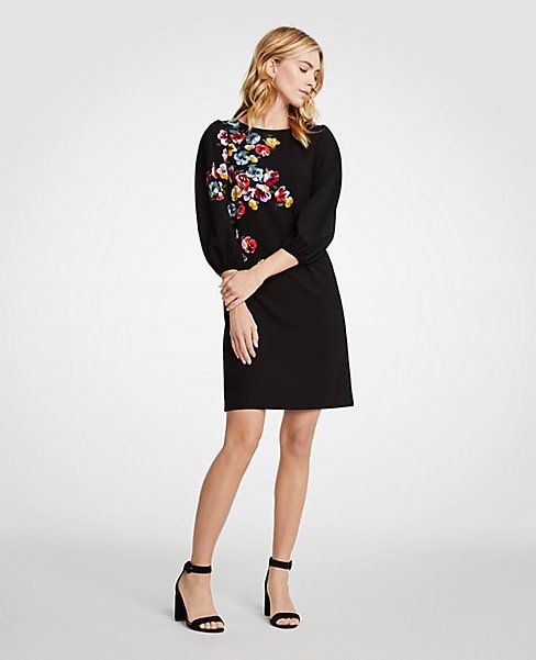 9bd9be377671 Winter Floral Puff Sleeve Shift Dress   Black Flower Dress   Spring Outfit    #anntaylor #affiliate