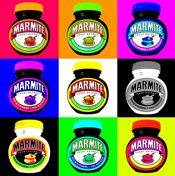 Marmite pop art by Chris Jones. Reproduced under Creative Commons Licence.