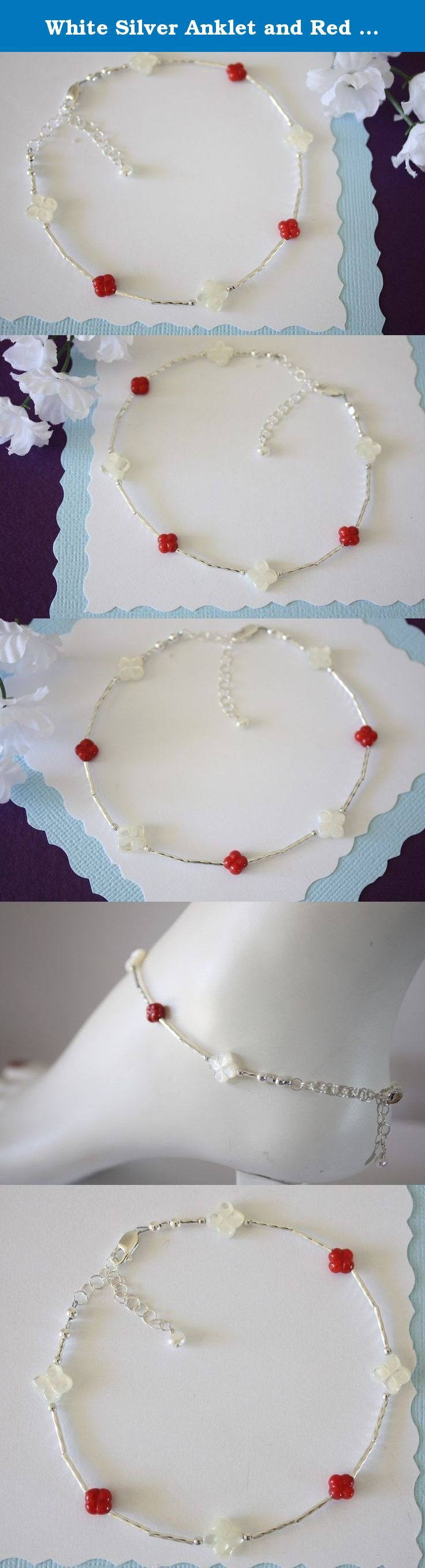 """White Silver Anklet and Red Coral, Beach Wedding, Flower Bridesmaid Gift. This fun anklet goes with everything! Handmade with beautiful Coral flowers, hand carved Mother of Pearl flowers and Liquid Sterling Silver.*** Average length is 10"""" but choose your length upon checkout. Comes with organza gift pouch, ready for gift giving."""