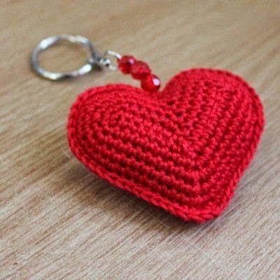 coração de crochê com gráfico